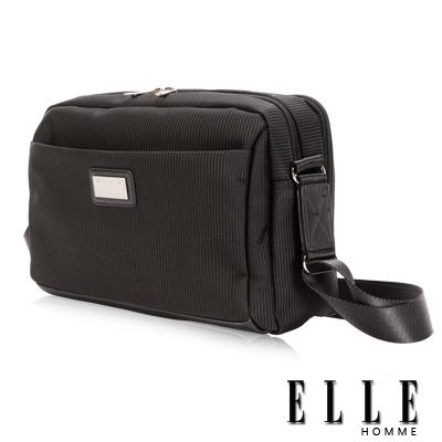 ELLE HOMME 優雅紳士風範IPAD可置條紋機能橫式側背包設計-黑