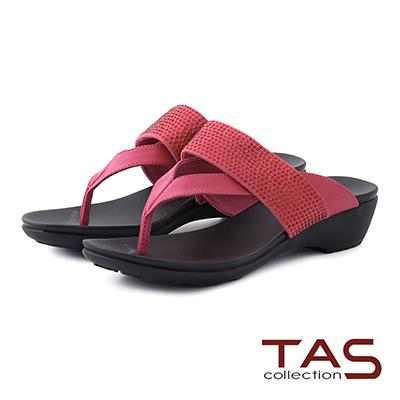 TAS 夾腳水鑽寬繫帶涼拖鞋-亮桃紅