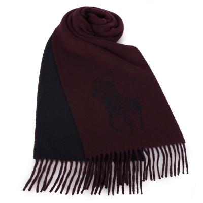 RALPH LAUREN POLO 經典大馬LOGO雙色羊毛圍巾-酒紅色