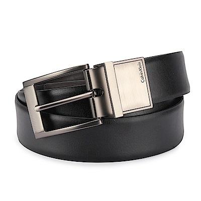 Calvin Klein 質感金屬條紋LOGO穿式皮帶-黑色