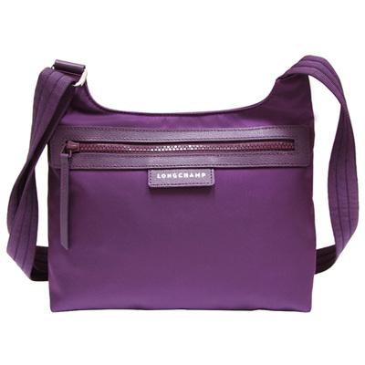 LONGCHAMP-前拉鍊尼龍斜背包-藍苺紫