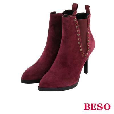 BESO 簡約深V 全真皮側邊V型鬆緊細跟短靴~酒紅