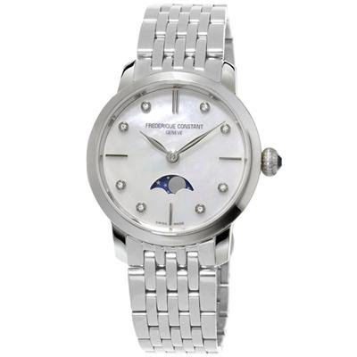 康斯登 CONSTANT SLIMLINE超薄系列月相女腕錶-銀/30mm