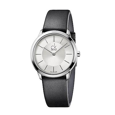 CK CALVIN KLEIN Minimal 系列時尚小牛皮錶帶手錶-35mm