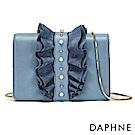 達芙妮DAPHNE-皺摺荷葉邊金屬鍊條斜背包-淺藍