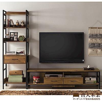 日本直人木業-STEEL積層木工業風1個1抽加181CM電視櫃(241x40x197cm)
