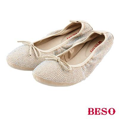 BESO 璀璨星光 細緻貼鑽芭蕾舞娃娃鞋~米