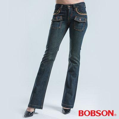 BOBSON 貼帶寬管中喇叭褲-藍綠