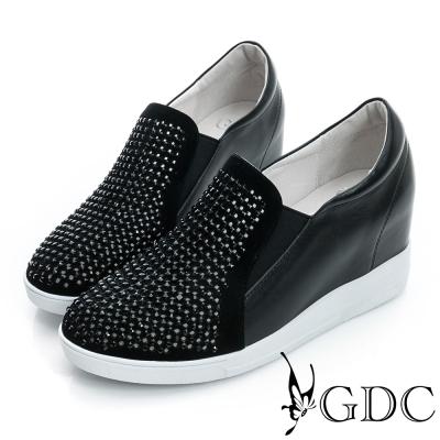 GDC舒適-韓風水鑽真皮內增高休閒鞋-黑色