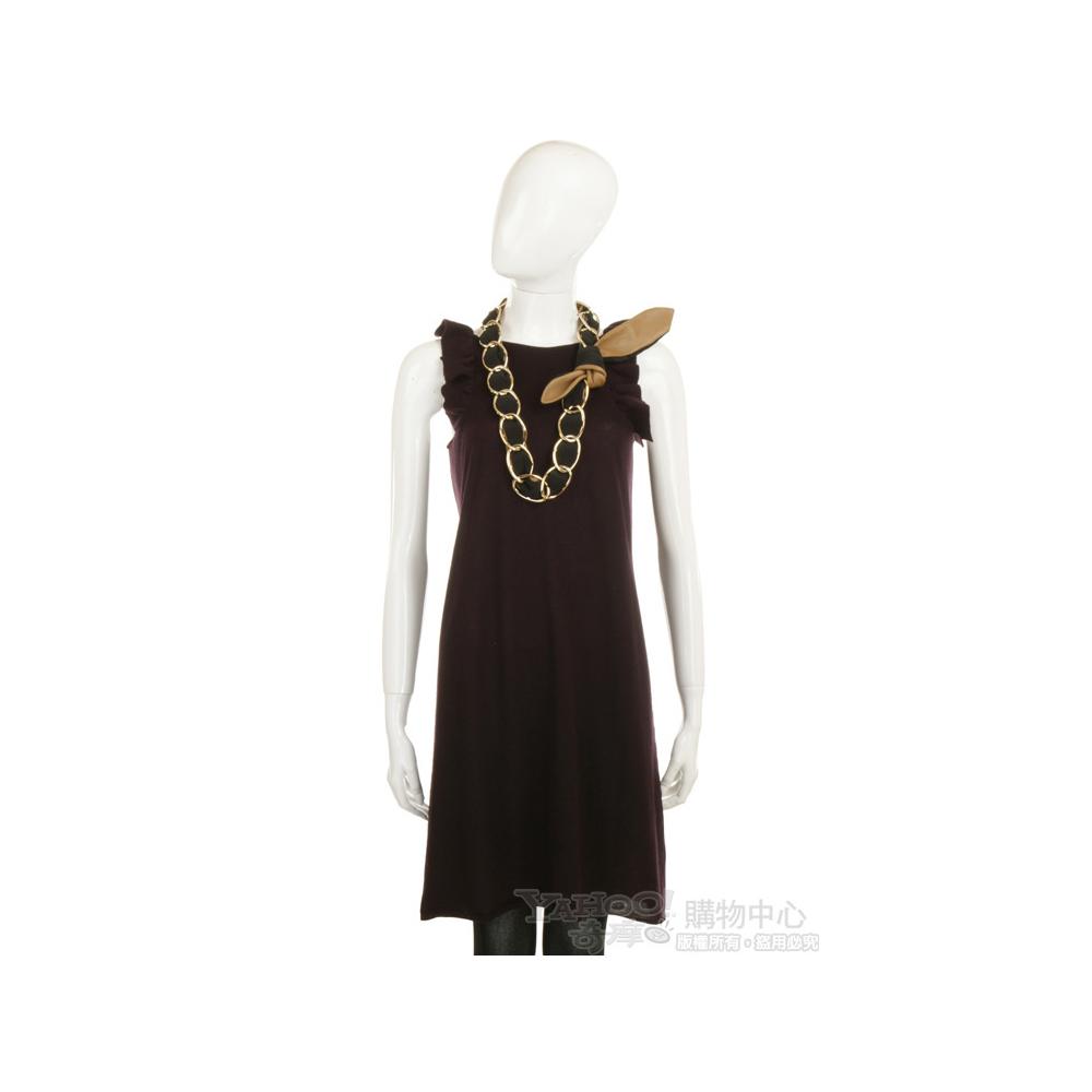 BRUNO MANETTI 深紫色無袖荷葉邊洋裝(不含配件)