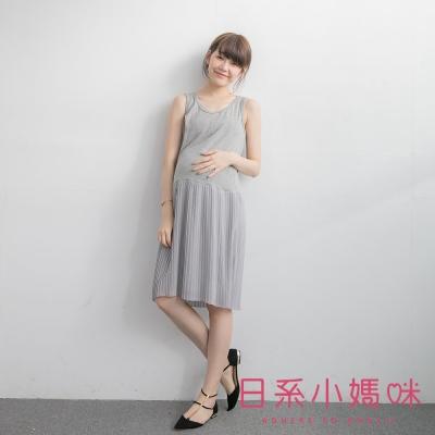 日系小媽咪孕婦裝-韓製哺乳衣-純色拼接雪紡百褶下襬