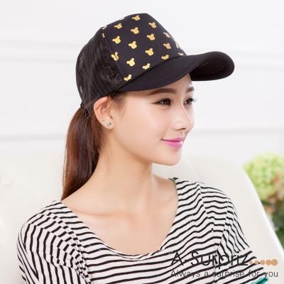 A-Surpriz 金色可愛小熊棒球網帽(黑)