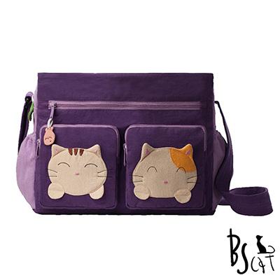 ABS貝斯貓 可愛貓咪拼布 肩背包 斜揹包 (紫) 88-217