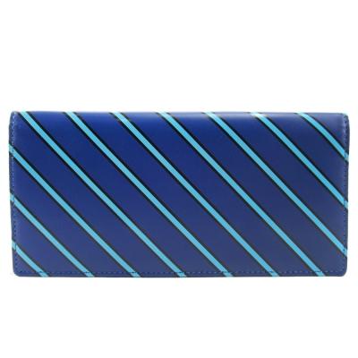 agnes b.斜紋兩折長夾(藍)