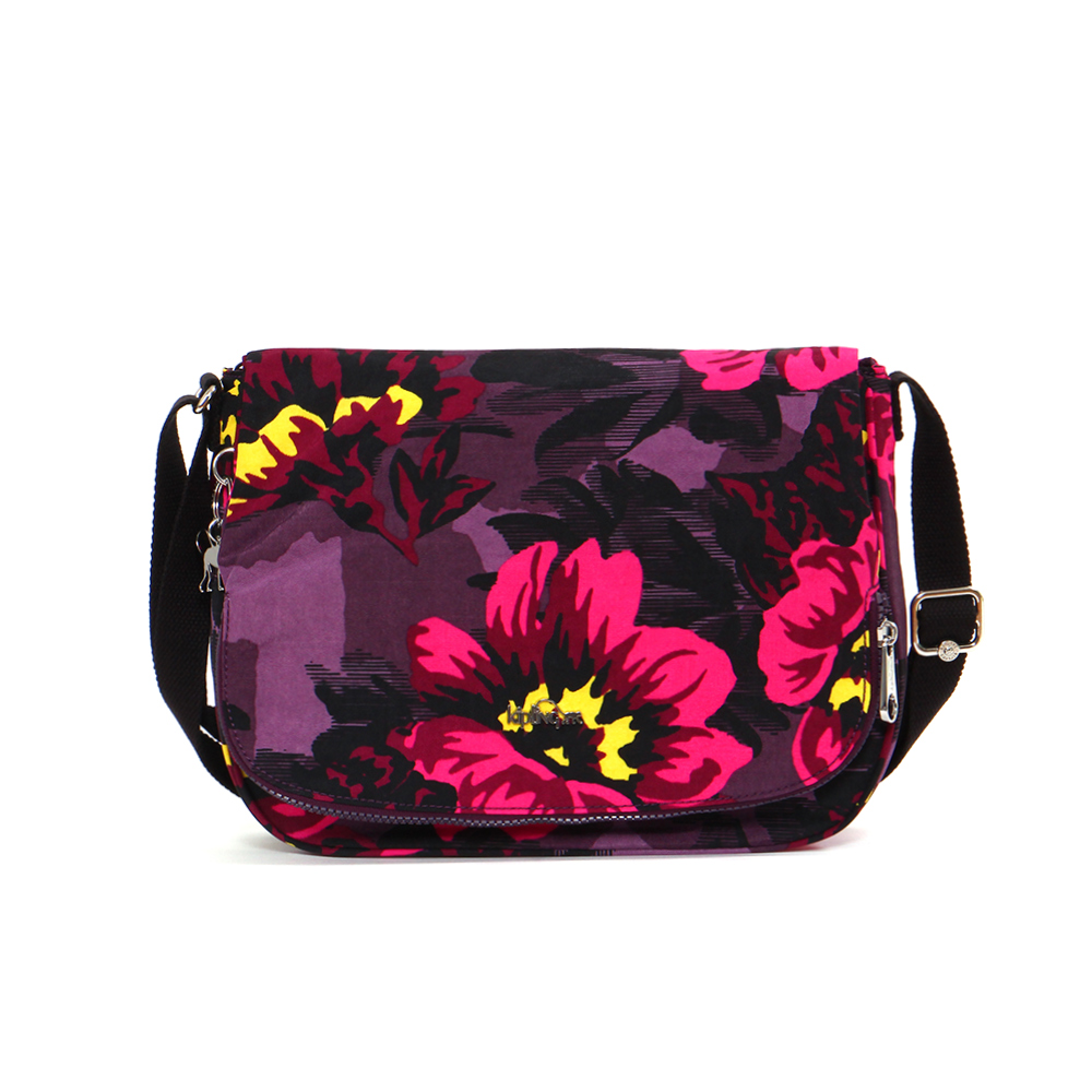 Kipling 側背包 紫紅牡丹印花