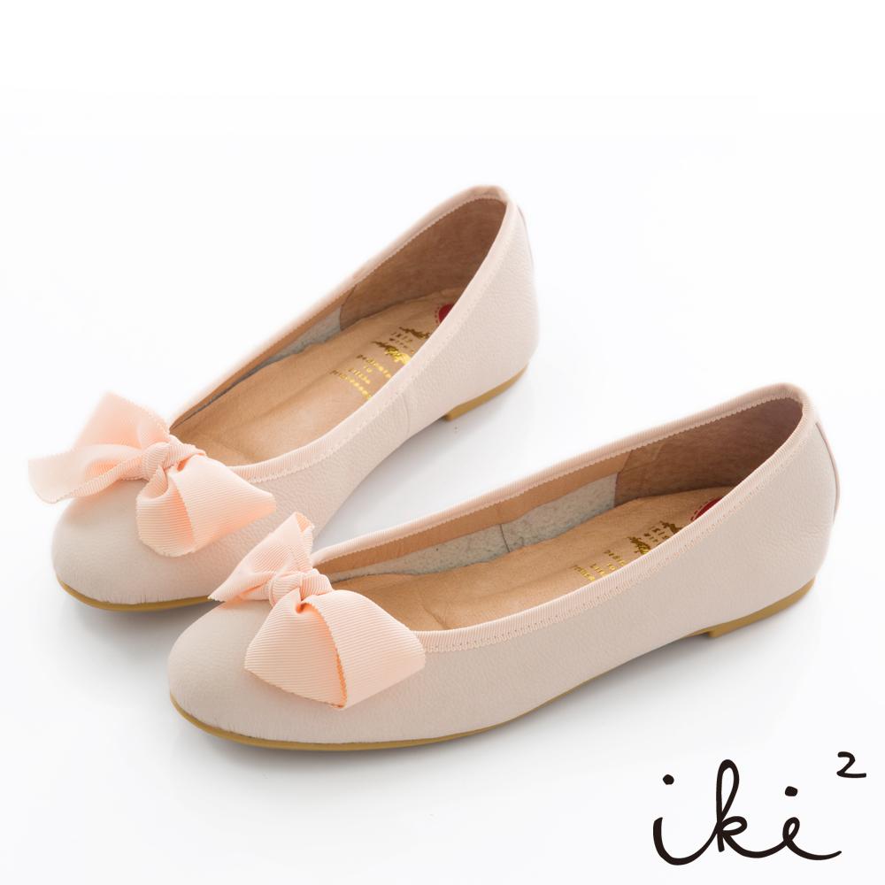 iki2 全真皮 親子蝴蝶結平底芭蕾鞋-粉膚