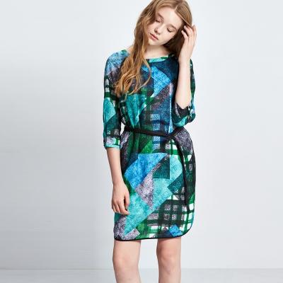 Chaber巧帛 幾何格紋線條印花腰帶七分袖洋裝