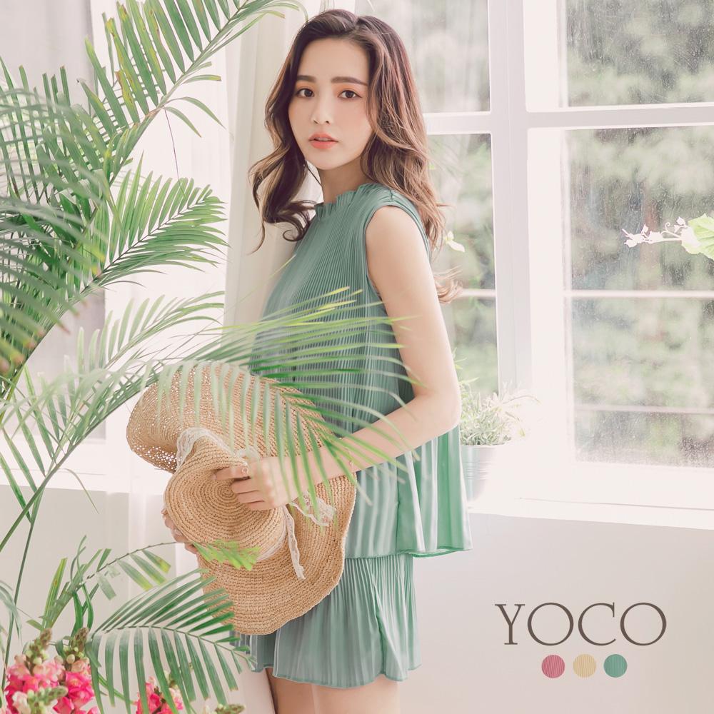 東京著衣-yoco 輕甜優雅多色傘擺壓褶名媛套裝-S.M.L(共三色)