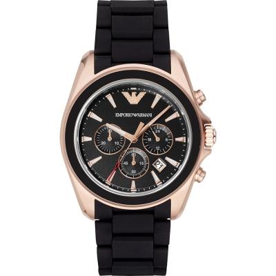 ARMANI 亞曼尼王者風範三眼計時手錶-黑X金/44mm