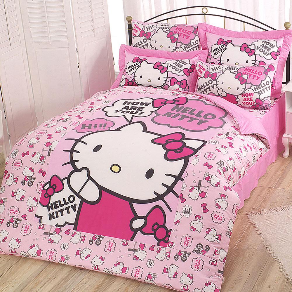 享夢城堡 精梳棉雙人床包薄被套四件組-HELLO KITTY 嗨 你好嗎-粉.紅