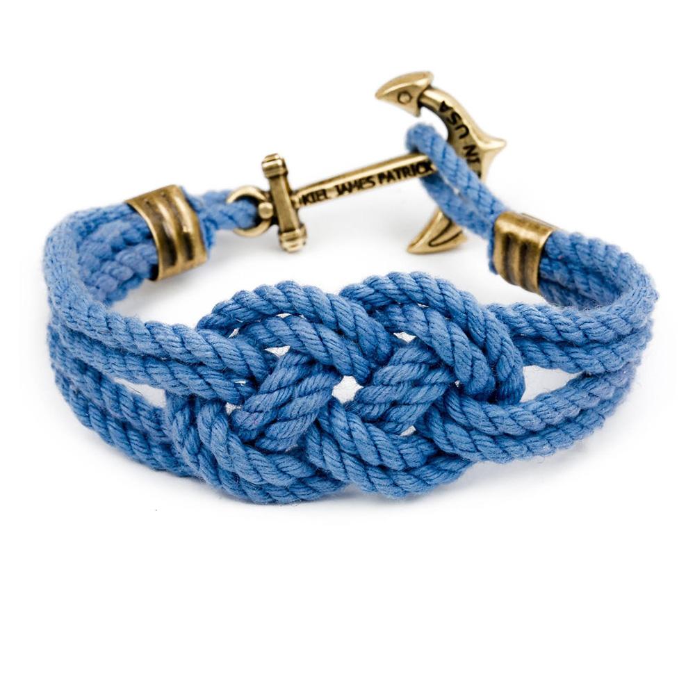 Kiel James Patrick 美國手工船錨棉麻繩結手環 淺藍卡里克結編織