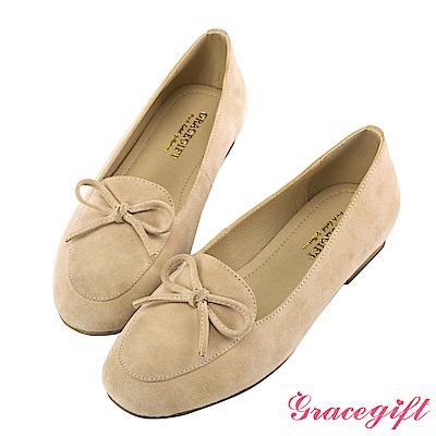 Grace gift-真麂皮蝴蝶結樂福平底鞋 淺駝