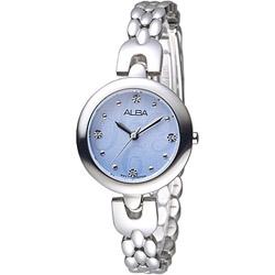 ALBA 浪漫夢天使SWAROVSKI晶鑽時尚女錶-水藍(AH8339X1)/28mm