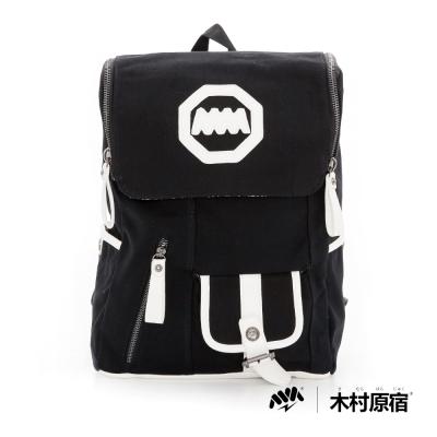 木村原宿MM- 口袋書包 大帽蓋帆布後背包-黑