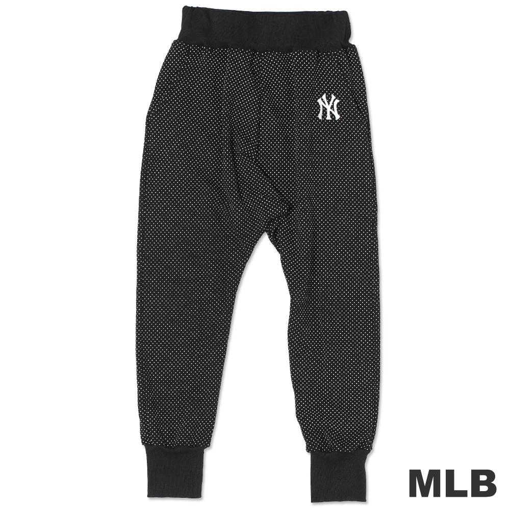 MLB-紐約洋基隊俏皮圓點縮口七分長褲-黑(女)