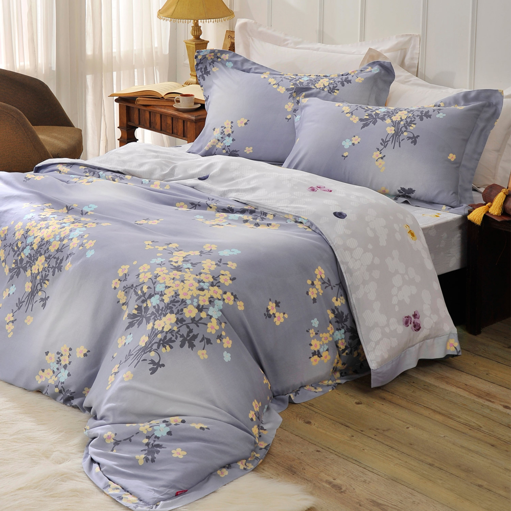 英國Abelia 花舞綻放 加大木漿纖維八件式兩用被床罩組