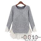 圓領拼接蕾絲長袖針織上衣 (灰色)-OOTD