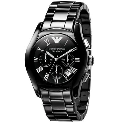 ARMANI 經典高科技陶瓷三眼計時腕錶-黑/42mm