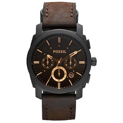 FOSSIL 星際時空三環計時運動腕錶-咖啡x金時標/45mm