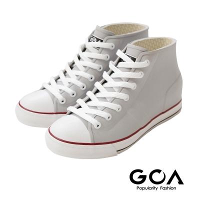 GOA 街頭時尚.男款內增高帆布款橡膠雨鞋-灰