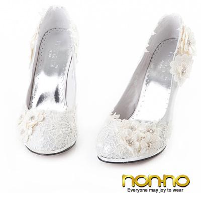 nonno-甜美佳人-鏤花蕾絲細高跟鞋-銀
