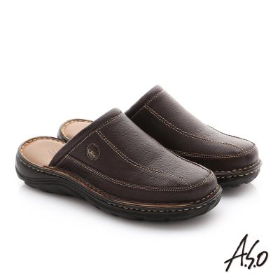 A.S.O 抗震雙核心 摔花牛皮紳士休閒張菲鞋 咖啡色