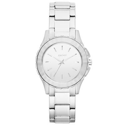 DKNY 百老匯女時尚都會腕錶-鏡面銀/32mm