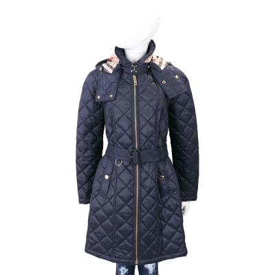 BURBERRY 墨藍色可拆式連帽絎縫防雨大衣