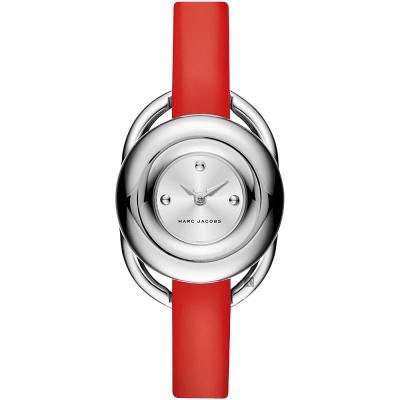 Marc Jacobs Jerrie 名模時尚女錶-銀x紅/28mm