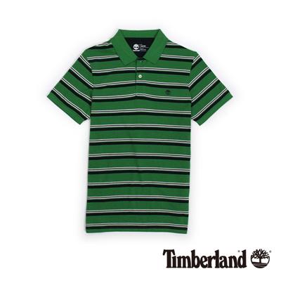 Timberland-男款綠色條紋刺繡短袖Polo衫