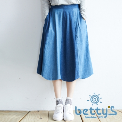 betty's貝蒂思 雙色牛仔拼接裙(牛仔藍)