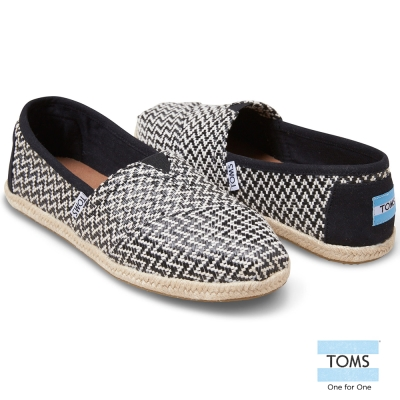 TOMS 十字繡編織懶人鞋-女款(黑)