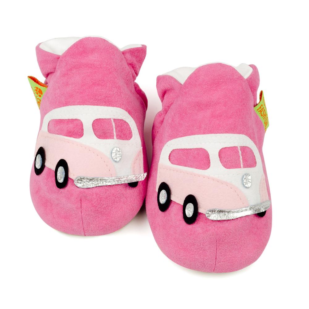 英國 Funky Feet 室內手工鞋- 粉紅露營車 FF001009