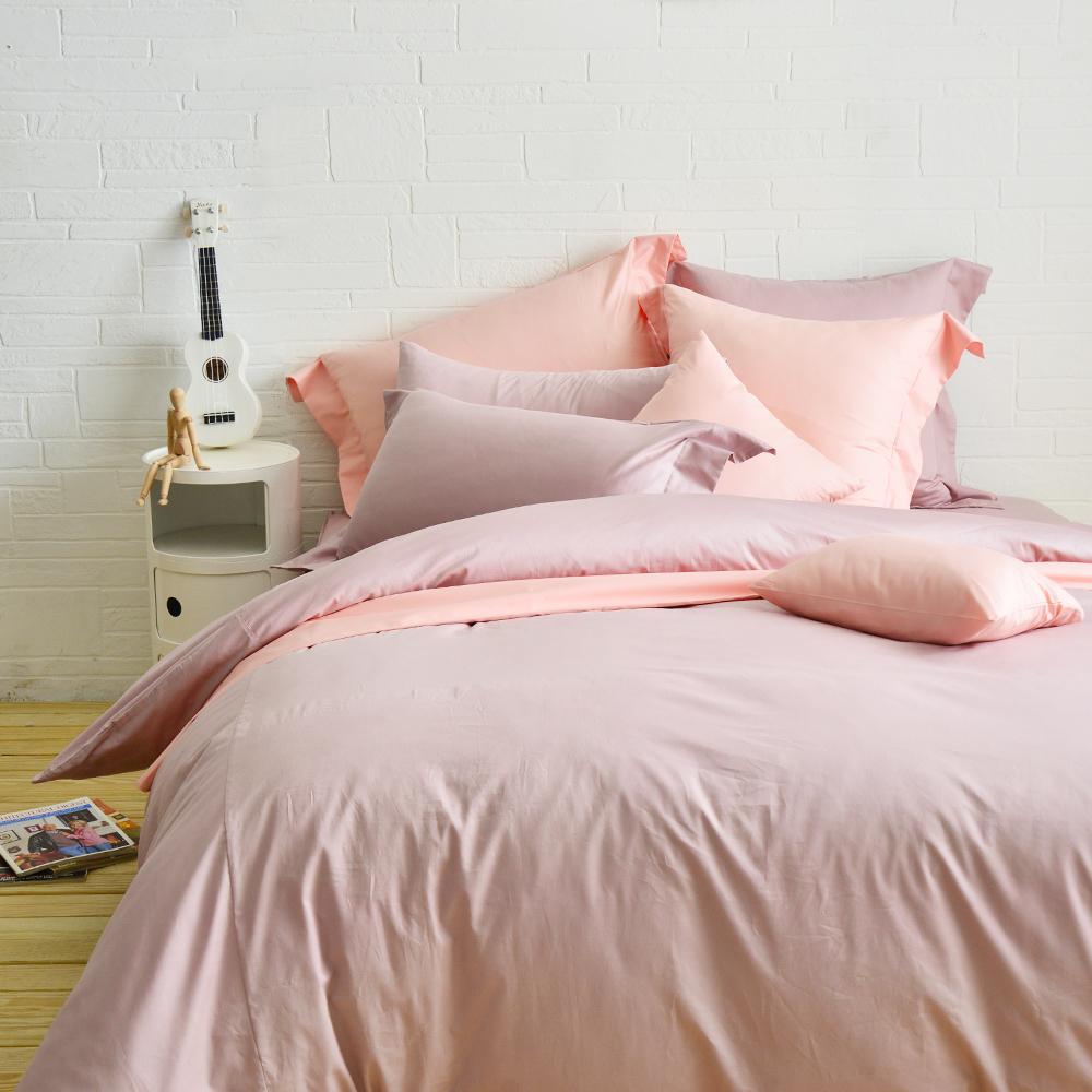 Cozy inn 簡單純色-鋪桑紫 特大四件組 300織精梳棉薄被套床包組