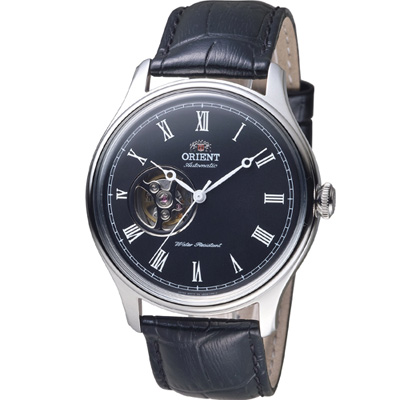 ORIENT 東方錶 SEMI-SKELETON 系列小鏤空機械錶-黑/43mm