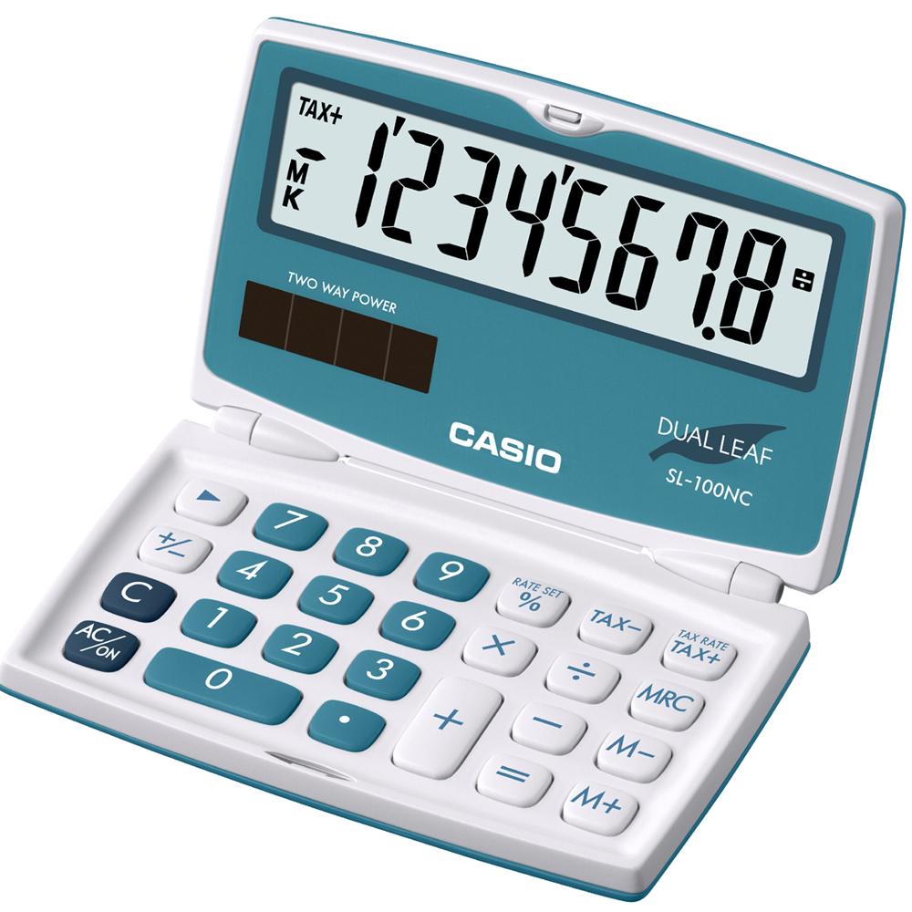 CASIO 8位數亮眼新色口袋硬殼型計算機(SL-100NC-BU)冰藍色