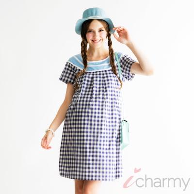 愛俏咪I charmy 氣質拼接圓領藍白格紋修身綁帶洋裝