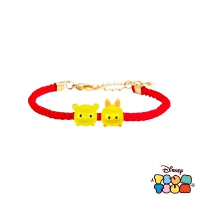 Disney迪士尼TSUM TSUM系列金飾 黃金編織手鍊-維尼+小豬款