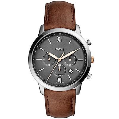 FOSSIL Neutra經典復刻計時真皮手錶(FS5408)-灰X咖啡/44mm
