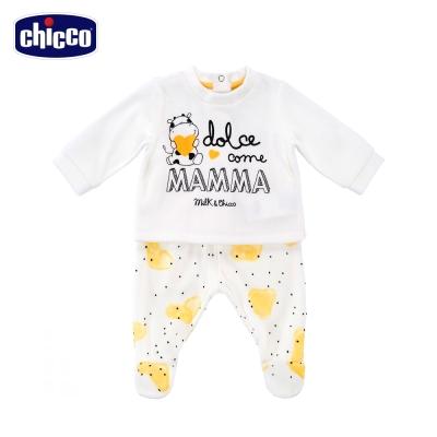 chicco小乳牛愛媽咪剪毛絨長袖套裝-白(3個月-12個月)